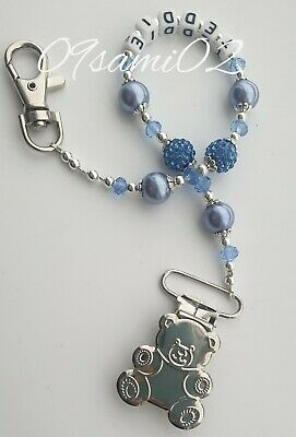£7 • Buy Personalised Bling Dummy Clip Blue Crystal ❤romany❤  Bear