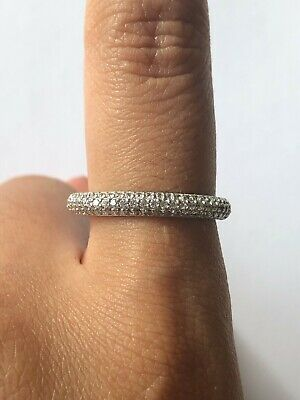 £21.06 • Buy Lovely Round Clear CZ 925 Silver Rounded 1/2 Eternity Style Ring Band Size 8