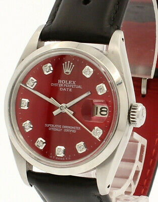 $ CDN4194.18 • Buy Mens Vintage ROLEX Oyster Perpetual Date 34mm Shiny RED Dial Diamond Steel Watch