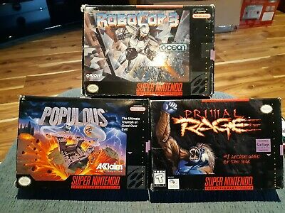 $ CDN29.99 • Buy Lot Of 3 Boxed - Super Nintendo - Snes - Populous, Robo Cop 3 & Primal Rage