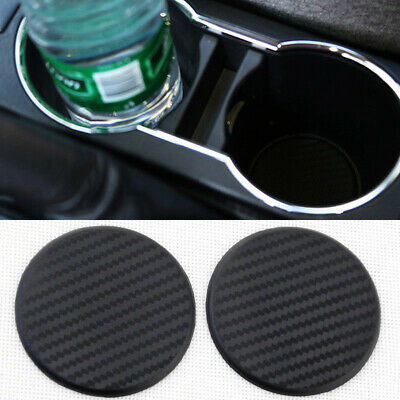 $ CDN5.33 • Buy 2* Car Vehicle Water Cup Bottom Drink Slot Non-Slip Carbon Fiber Look Mats Black