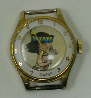$ CDN49.95 • Buy Vintage Swiss Holographic Watch Native Boy Rowing Canoe AS IS PARTS REPAIR