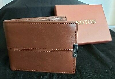 AU70 • Buy OROTON Mens WALLET AUSTERE MINI ONE FOLD BROWN LEATHER TWO NOTE COMPARTMENT New
