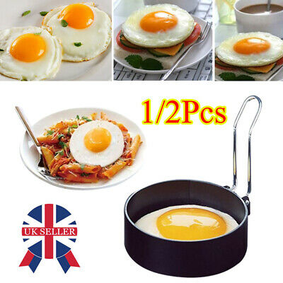 1/2Pcs Metal Egg Frying Rings Circle Round Fried/Poach Mould+Handle Non Stick H • 5.74£