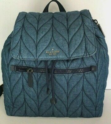 $ CDN163.46 • Buy New Kate Spade New York Ellie Large Flap Nylon Backpack Handbag Denim