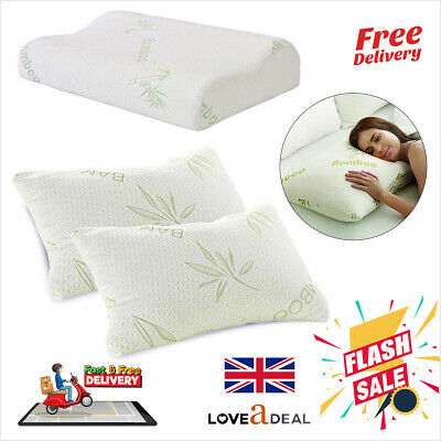 Bamboo Anti Bacterial Memory Foam Pillow Orthopedic Firm Head Neck Back Support • 3.49£