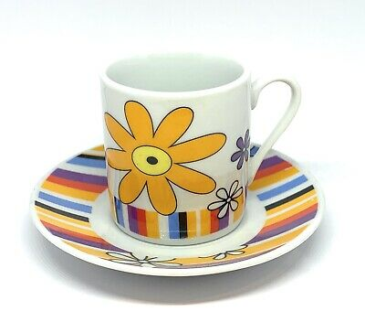 Espresso Cups French Retro Yellow Flower Design Set Of Four Coffee Cups • 12.50£