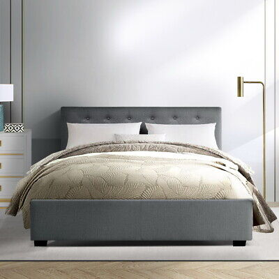 AU300.90 • Buy Artiss Double Size Fabric Gas Lift Storage Bed Frame Wooden Mattress Base Grey