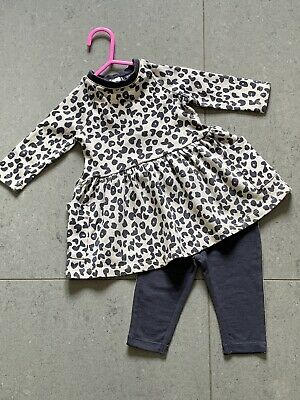 Baby Girls Clothes Animal Print Sweat Dress With Leggings By Fearne Miniclub 0-3 • 0.99£