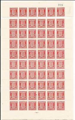 GB GUERNSEY 1d SCARLRT FULL SHEET 60 STAMPS MNH SG;3 Cat £195 TOP SEPARATION  • 1.20£