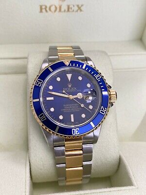 $ CDN11999.26 • Buy Rolex Submariner 16613 Blue Dial 18K Yellow Gold Stainless Steel With Box