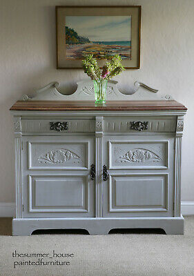 Decorative Painted French Antique Carved Sideboard Server Cupboard Storage • 545£