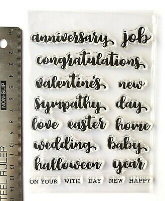 Clear Rubber Stamps Words Anniversary Baby Love Home Sympathy Congrats Wedding • 5.99£