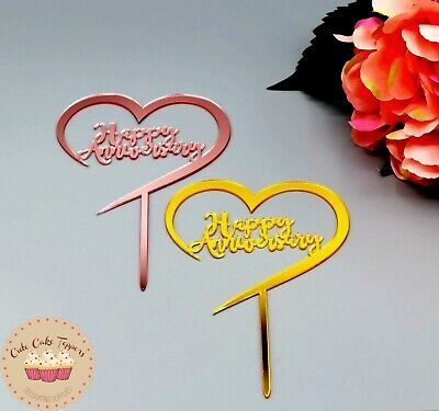 £2.59 • Buy Happy Wedding Anniversary Cake Topper Valentines Day Decoration Love Cake Topper