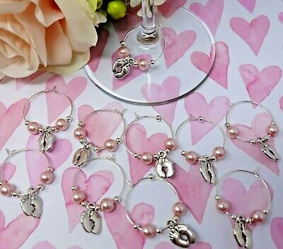 DIY KIT For 10x Baby Shower Wine Glass Charms Christening Keepsakes Favours PINK • 2.49£