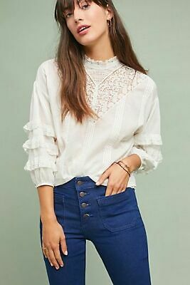 $ CDN75.71 • Buy Anthropologie Diya Lace White Peasant Blouse Size Small