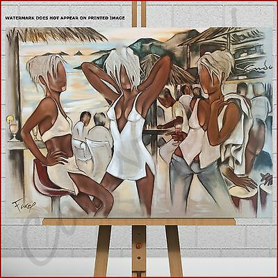 £26.95 • Buy Pierre Farel Canvas Print Picture Beach Bar Party Music Woman Cocktails Drinks
