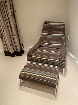 Designers Guild Large Modern Armchair And Matching Footstool • 250£
