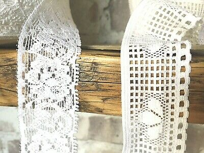 5 Mtrs. Of White Stretch Lace, 32 Mm. Wide, In 2 Patterns. • 4.25£