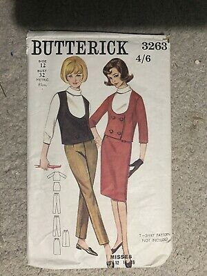 Vintage Sewing Pattern, Butterick 3263, Ladies Trousers, Skirt And Waistcoat,  • 8£