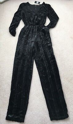 Next Black Jumpsuit Playsuit Silver Shimmer Through Velour Size 8 Bnwt • 12.99£