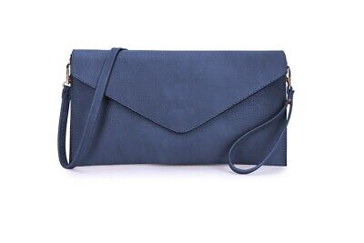 £8.45 • Buy Womens Large Clutch Bag Purse Envelope With Long Strap Leather Evening Navy