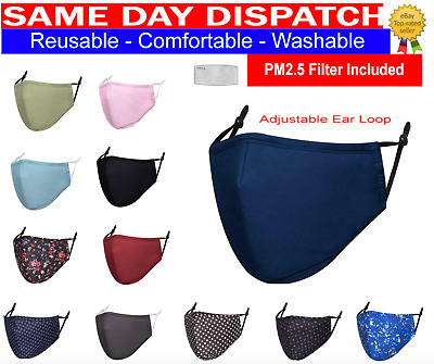 £3.79 • Buy 7Cotton Face Mask Washable Reusable Breathable With PM2.5 Filter & Filter Pocket
