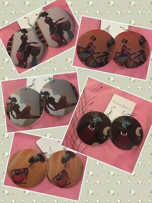 African Inspired Pretty Silhouette Lady Large Wooden Dangle Earrings • 1£