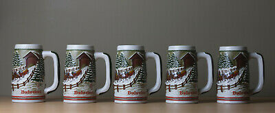 $ CDN26.35 • Buy Lot Of 5 Vintage 1984 Budweiser Holiday Clydesdale Beer Stein Mugs - Ceramarte