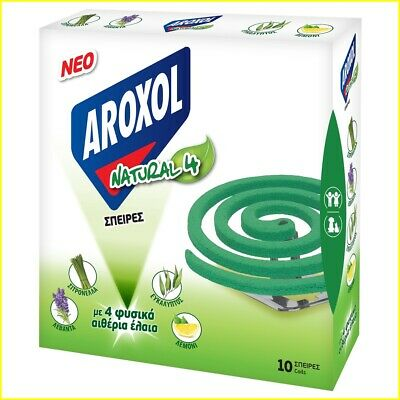 £3.89 • Buy Repellent Coil Aroxol Natural 4 Mosquito Midge Flies Insect - 1 Pack Of 10 Coils