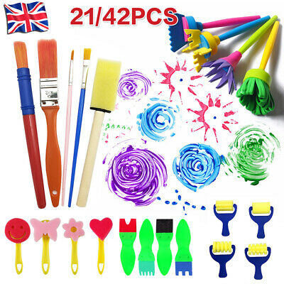 FOR Kids Paint Brushes Sponge Roller Painting Brush Apron Toy Craft DIY Tool NEW • 8.99£