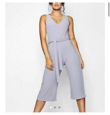 Womens Boohoo Basic Ribbed Culotte Belted Jumpsuit Silver Grey Size 10  • 0.99£