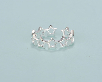 £2.99 • Buy 925 Sterling Silver Plated Joined Star Fully Adjustable Open Pinky Ring Gift UK