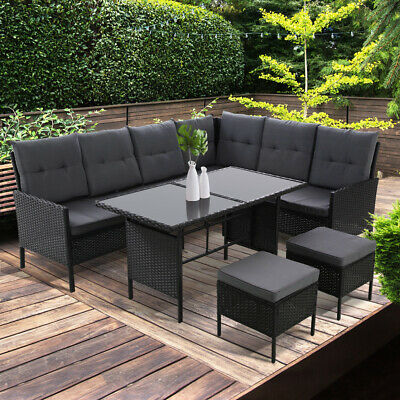AU933.90 • Buy Outdoor Sofa Set Patio Furniture Lounge Setting Dining Chair Table Wicker Grey
