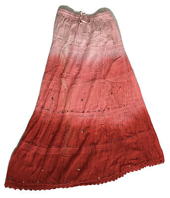 Ethnic Indian Cotton Skirt Sequins Lace Pink Elastic • 9.90£