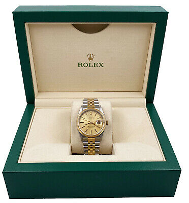$ CDN7813.88 • Buy Rolex Datejust 16233 Champagne Tapestry Dial 18K Yellow Gold Stainless Steel
