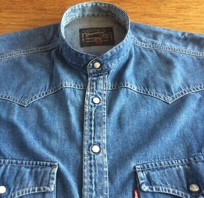 Mens Vintage Batwing Denim Grandad  Shirt By Levis.       17.5.  Collar.  M • 4.99£