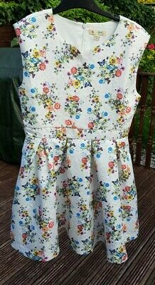 Yumi Girl Floral White Party Bridesmaids Dress Size 8 9 10 Years • 10£