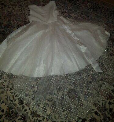 Girls White Party Bridesmaid Dress Size 9-10 Years STUNNING  High Low • 10£