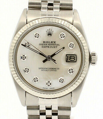 $ CDN6859.10 • Buy Mens Vintage ROLEX Oyster Perpetual Datejust 36mm MOP Diamond Dial Watch