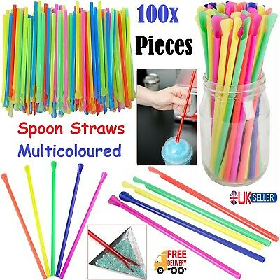 100x Spoon Straws Drinks Cocktail Smoothies Milkshake Juice Straw Party Supplies • 4.99£
