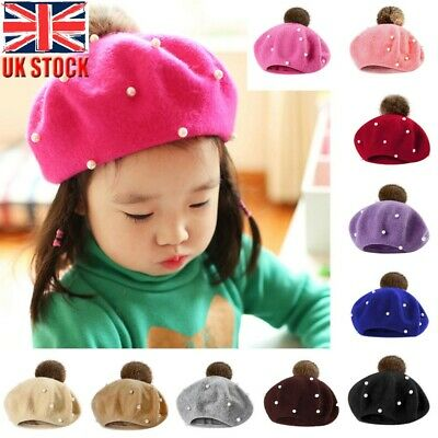 Fashion Infant Toddler Baby Kids Boy Girl Pearly Ball Beanie Winter Warm Hat Cap • 6.59£