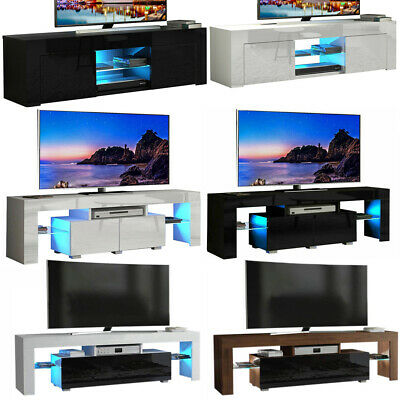 High Gloss TV Cabinet Stand Table Blue LED Unit W/ Storage Drawer & Glass Shelf • 76.50£