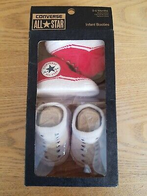 Infant Baby All Star Converse Booties Slip On Socks 2 Pairs Boxed 0-6 Months • 11.90£