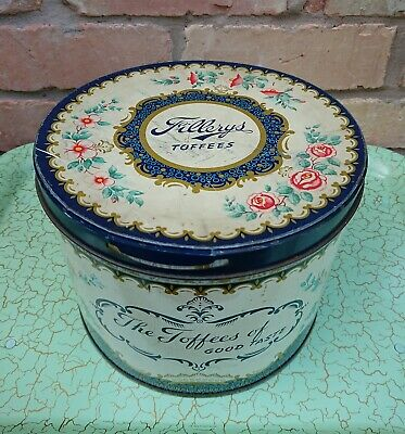 50s 60s Vintage Retro Ex Large Fillerys Toffee Sweet Tin Floral Shabby Chic • 19.99£