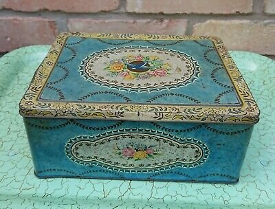 50s 60s Vintage Retro Ex Large 5lb Bluebird Toffee Sweet Tin Floral Shabby Chic • 19.99£