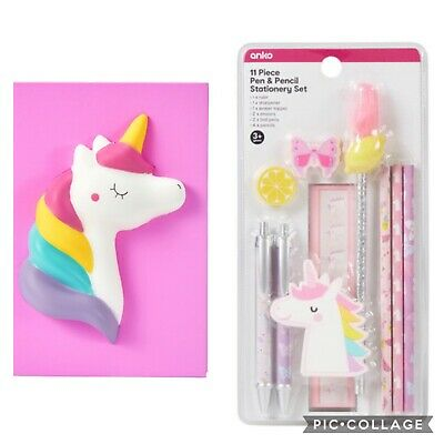 AU15 • Buy Squishy Unicorn Note Book & Stationary Set