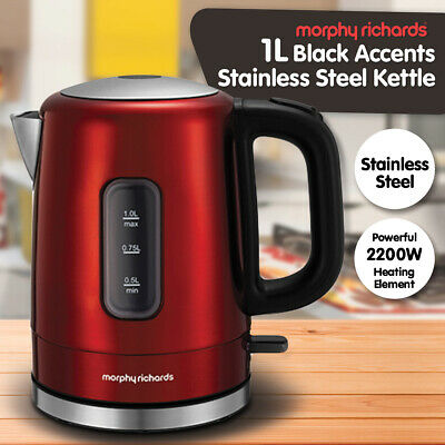 AU54.90 • Buy Morphy Richards 2200W Accents 1L Red Stainless Steel Electric Kettle 101007