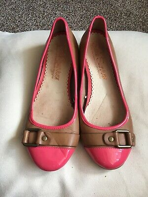 Next Tan And Coral/ Pink Patent Flat Leather Shoes / Ballet Pumps Size 6 • 5.99£