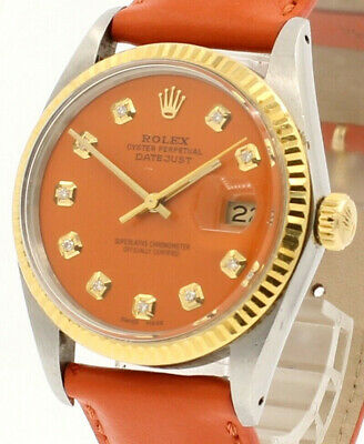 $ CDN6077.19 • Buy Mens Vintage ROLEX Oyster Perpetual Datejust 36mm ORANGE Diamond Dial Watch